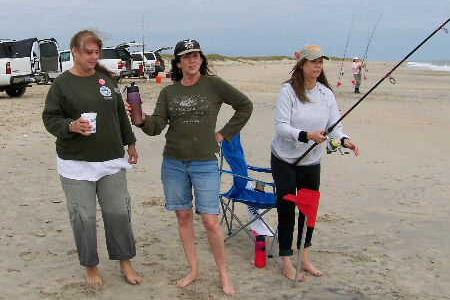 Ladies fishing at the Cape Hatteras Anglers Club Surf Fishing Tournament